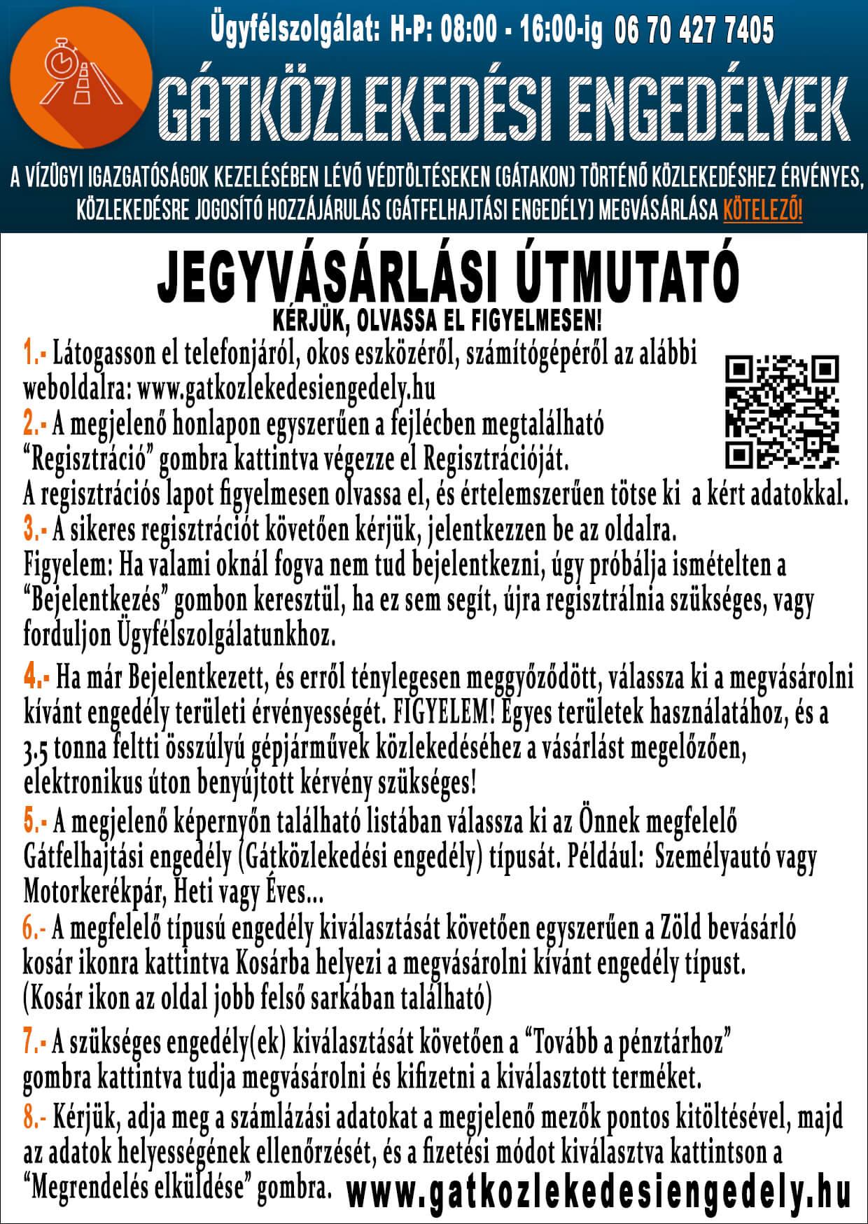 Gátközlekedési engedélyek - Jegyvásárlási útmutató